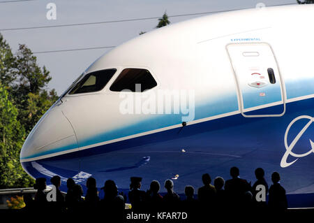 windshield of the first Boeing 787-8 Dreamliner at the roll-our ceremony - Stock Photo
