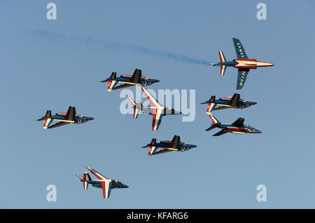 France - Air Force Patrouille de France Armee de l'Air Dassault Breguet Dornier Alpha Jets flying in formation at - Stock Photo