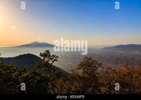 View of Mount Vesuvius from regional park of the Lattari Mountains, Italy - Stock Photo