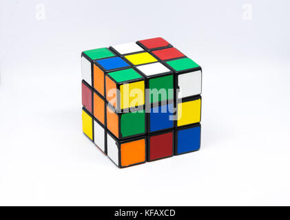 A close-up view of an old Rubik's Cube, - Stock Photo
