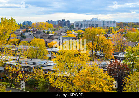Buildings in Cote Saint-Luc in fall, Canada - Stock Photo