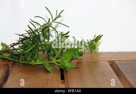 fresh aromatic herbs from the organic garden - Stock Photo