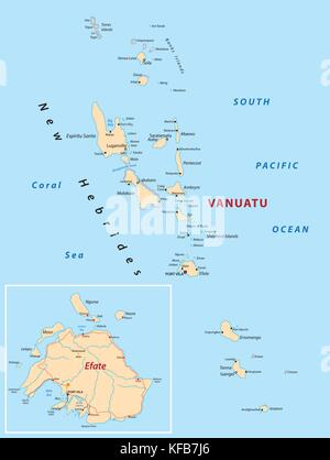 vanuatu map - Stock Photo