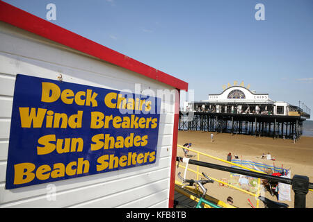 Summer holiday equipment for sale and hire at Cleethorpes beach near the Pier. - Stock Photo