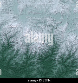 Himalaya Mountains from space. - Stock Photo