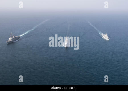 The French Maritime Nationale anti-air frigate FS Jean Bart (D 615), the U.K. Royal Navy frigate - Stock Photo
