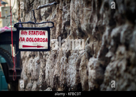 A sign for The Via Dolorosa in the Old City, Jerusalem. - Stock Photo
