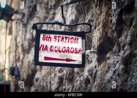 ign for The Via Dolorosa in the Old City, Jerusalem. - Stock Photo