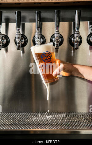 USA, Oregon, Bend, Pacific Pizza and Brew, pouring a pint of beer - Stock Photo