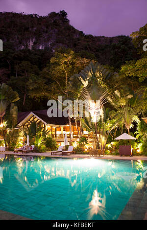 PHILIPPINES, Palawan, El Nido, poolside view at the Lagen Island resort in Bacuit Bay in the South China Sea - Stock Photo