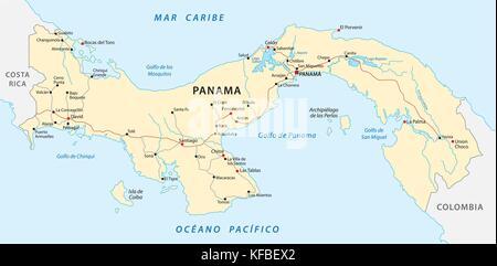 Map Of Panama Vector Illustration Stock Vector Art - Panama map vector