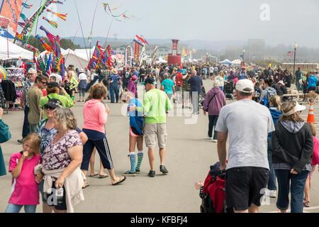 USA, Washington State, Long Beach Peninsula, International Kite Festival, the row of food and kite vendors at the kite festival