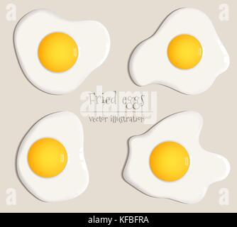 Collection of four fried eggs vector illustration - Stock Photo