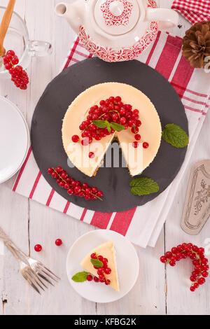 Redcurrant cheesecake. - Stock Photo