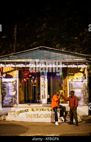 JAMAICA, Port Antonio. Front of the All Star Bar and Lounge. - Stock Photo