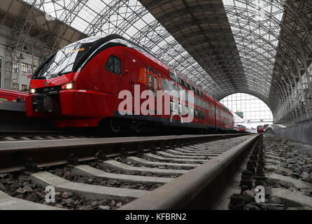 MOSCOW, RUSSIA - OCTOBER 27, 2017: The first double decker train of the Aeroexpress air-rail link service seen at - Stock Photo