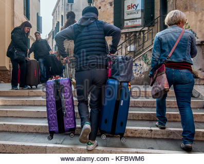 Venice, Italy 27 October, 2017. Tourists and local walk during the public Transport Strike in the city on October - Stock Photo