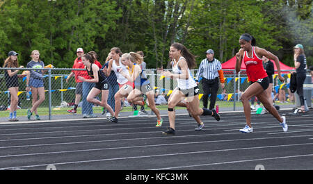 High school athletes compete in a track and field meet in Milwaukee, Wisconsin, USA - Stock Photo