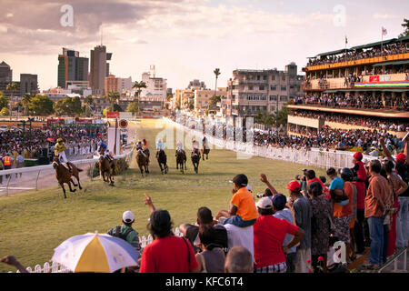 MAURITIUS, Port Louis, an international horse race draws thousands at Champ de Mars Race Cource, International Jockey - Stock Photo