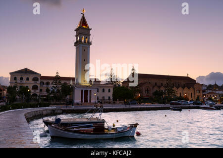 Sunset at St Dionysos church in Zakynthos town, Greece. - Stock Photo