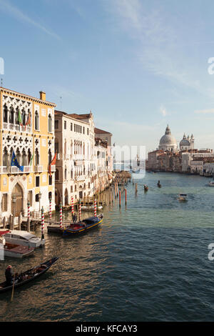 ITALY, Venice.  A view from Ponte dell' Accademia bridge of the Grand Canal. The domes of the Basilica di Santa - Stock Photo