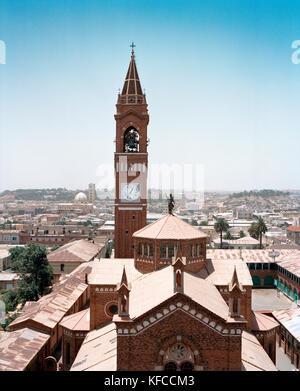 ERITREA, Asmara, the Latin Cathedral on Liberation Avenue - Stock Photo