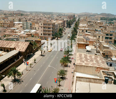 ERITREA, Asmara, elevated view of Asmara from the Latin Cathedral on Liberation Avenue - Stock Photo