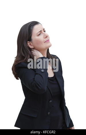 Middle aged woman with chronic pain syndrome fibromyalgia suffering from acute neckache, isolated on white background - Stock Photo