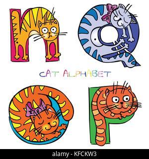 cat alphabet n o p q - Stock Photo