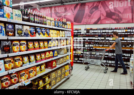 Interior of a Super U Supermarket - Stock Photo
