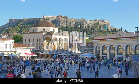 ATHENS, GREECE - MAY 04: Crowd of Tourists at Monastiraki Square in Athens on MAY 04, 2015. Popular Shopping District - Stock Photo