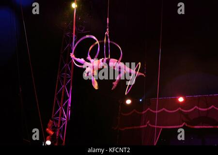 circus performers hoola hoop - Stock Photo