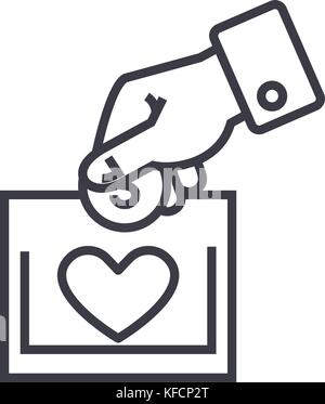 charity and donation concept vector thin line icon, symbol, sign, illustration on isolated background - Stock Photo