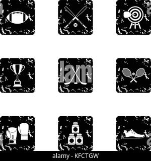 Sports accessories icons set, grunge style - Stock Photo