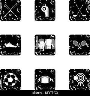 Sports stuff icons set, grunge style - Stock Photo