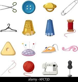 Sewing icons set, cartoon style - Stock Photo