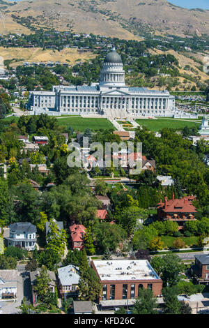 Overlook over the Utah state capitol, Salt Lake City, Utah, USA - Stock Photo