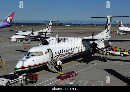 pilot at the airstairs of an Horizon Air Bombardier DHC-8 Dash 8-400 Q400 parked on the apron with tug attached, - Stock Photo