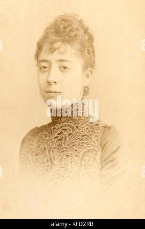 Noble french woman of d'Oncie de la Badie family, taken in 1896 (Paris) - Stock Photo