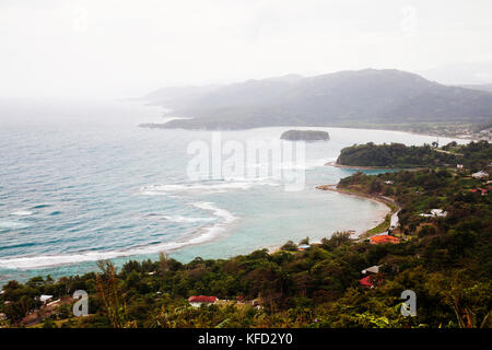 JAMAICA, Ocho Rios. View of the coast from a window at Firefly, the house of playwright Noel Coward. - Stock Photo