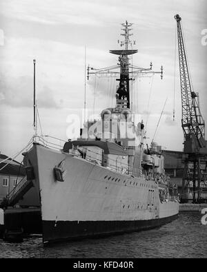 D73 HMS Cavalier world war 2 British Royal Navy C-class destroyer berthed in Southampton Docks, Southampton, Hampshire, - Stock Photo