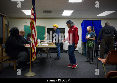 American citizens cast the ballot at a polling station on Election Day, in Philadelphia, PA. - Stock Photo