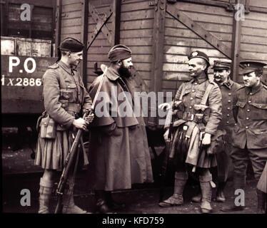 Highlanders , Scottish soldiers, British army, France 1914 .World War I - First World War, The Great War, 28 July - Stock Photo