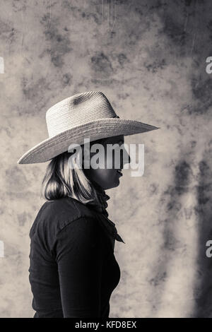 USA, Oregon, Enterprise, portrait of Cowgirl Adele Nash at the Snyder Ranch located between Enterprise and Joseph - Stock Photo