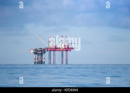 Morecambe Bay oil rig on the north west coast of England; Since 1985, the Morecambe Bay fields in the East Irish Sea have provided a supply of gas.