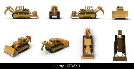 Heavy duty bulldozer Isolated on white 3D Illustration - Stock Photo