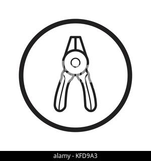 Linear Round nose pliers icon, Fix tools iconic symbol inside a circle, on white background. Vector Iconic Design. - Stock Photo