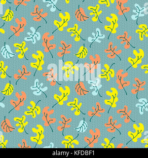 Autumn fall leaves. Floral seamless pattern background. Ornament with stylized oak leaves - Stock Photo