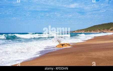 a view of the Spiaggia di Piscinas beach in Arbus, Sardinia, Italy - Stock Photo