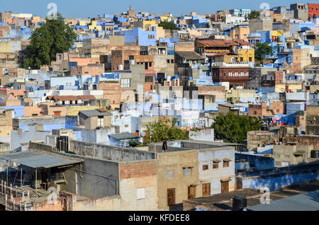 Cityscape of Jodphur with traditional indigo blue and white painted houses.